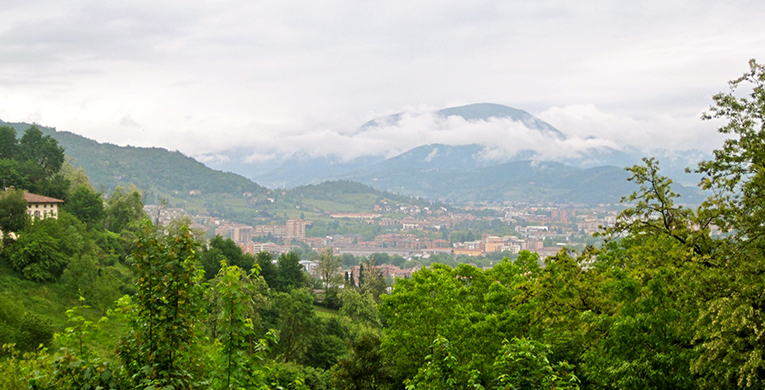 View of the mountains and city of Bergamo in Italy