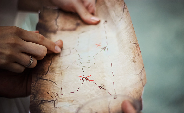 Hand-drawn map with x mark
