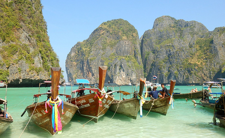 Boats on the beach in Koh Phi Phi, Thailand