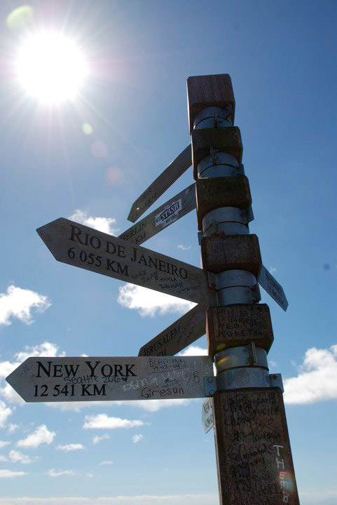 Direction sign at Cape Point, South Africa