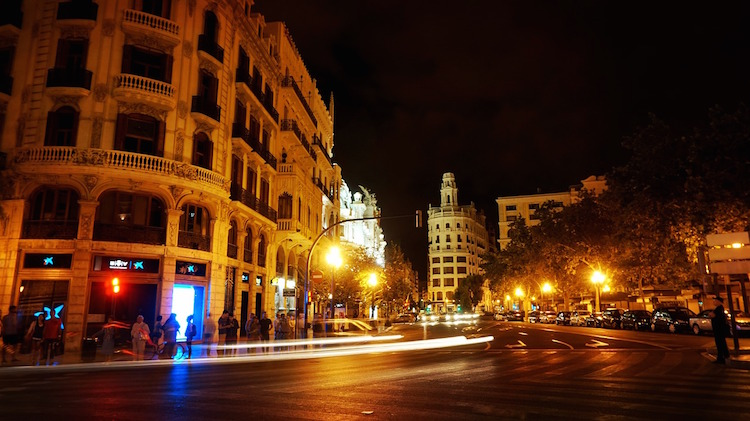 Street in Valencia, Spain at night