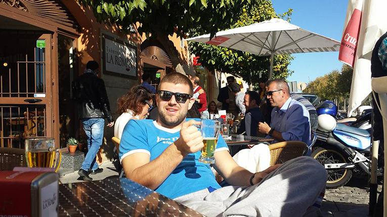 Man drinking a beer in Cordoba, Spain