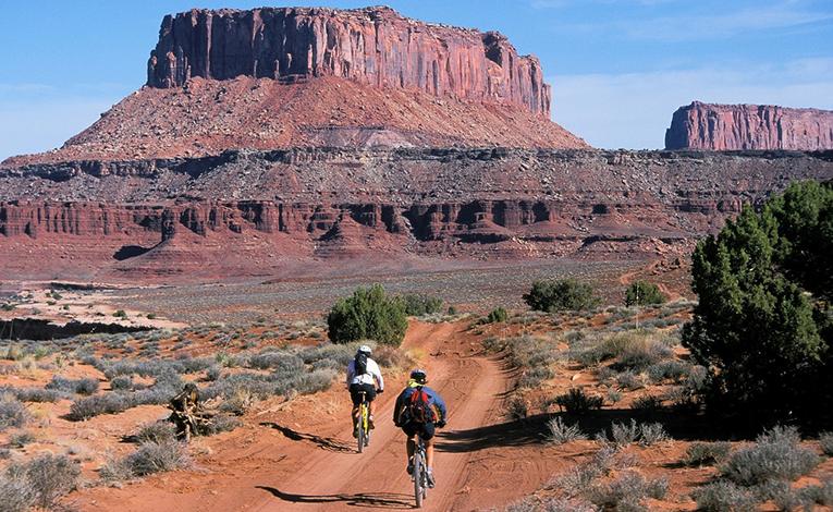 Two bikers in the desert in Arizona