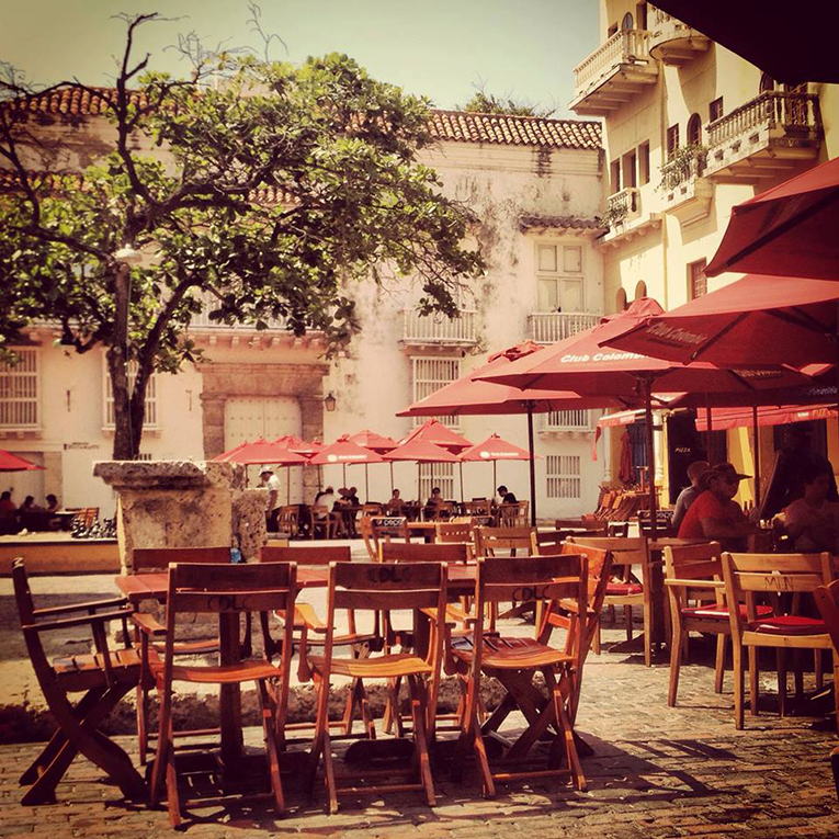 Plaza cafe in Cartagena, Colombia