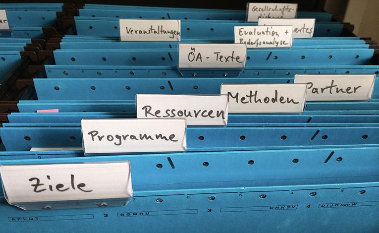 Organizational filing cabinet.