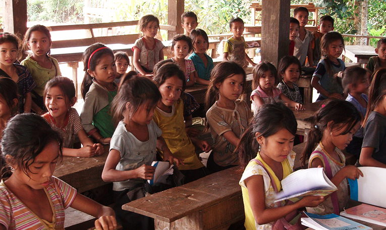 Primary school students in a village in Laos