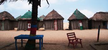 Shacks at Ada-foah Beach, near the Volta River