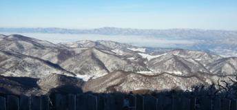 Halfway down the 3.5 mile Rainbow Paradise Ski Slope at YongPyong Ski Resort