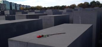 Paying respects to the victims of the Holocaust at the Memorial to the Murdered Jews of Europe.