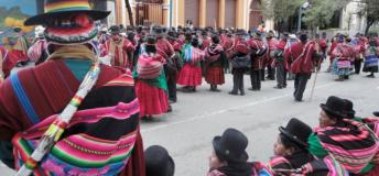 Campesinos on the streets of La Paz, Bolivia