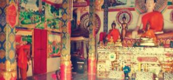 Inside a Buddhist temple in Laos