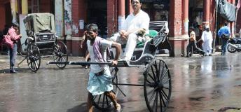 Hand pulled Rickshaw, Calcutta, India.