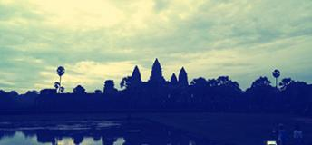 The main skyline of Angkor Wat at sunrise.