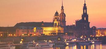 A night view of the city of Dresden, Germany.