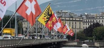 International flags hung in Geneva