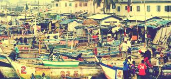 Boats at a port in Ghana