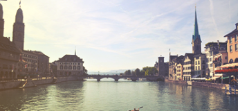 The Limmat river in Zurich, Switzerland.