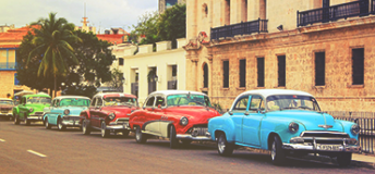 Old cars on a street in Havana, Cuba