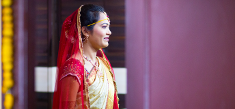 Asian woman in traditional wedding attire