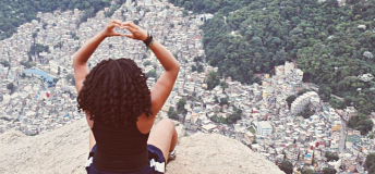 Hearts above the city with natural hair