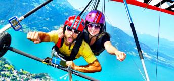 Hang gliding over the Swiss Alps
