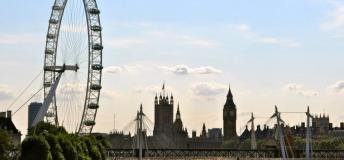 View of the London Eye in London, England