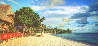 The coastline of Bora Bora Island in French Polynesia.