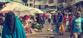 Busy market in Mombasa, Kenya