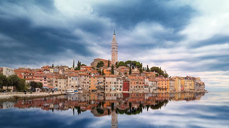 Rovinj, Croatia skyline from the water