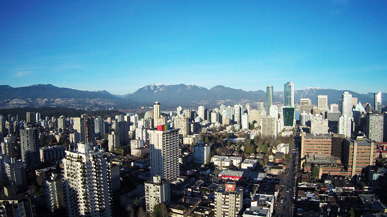 Bird's eye view of Vancouver, Canada