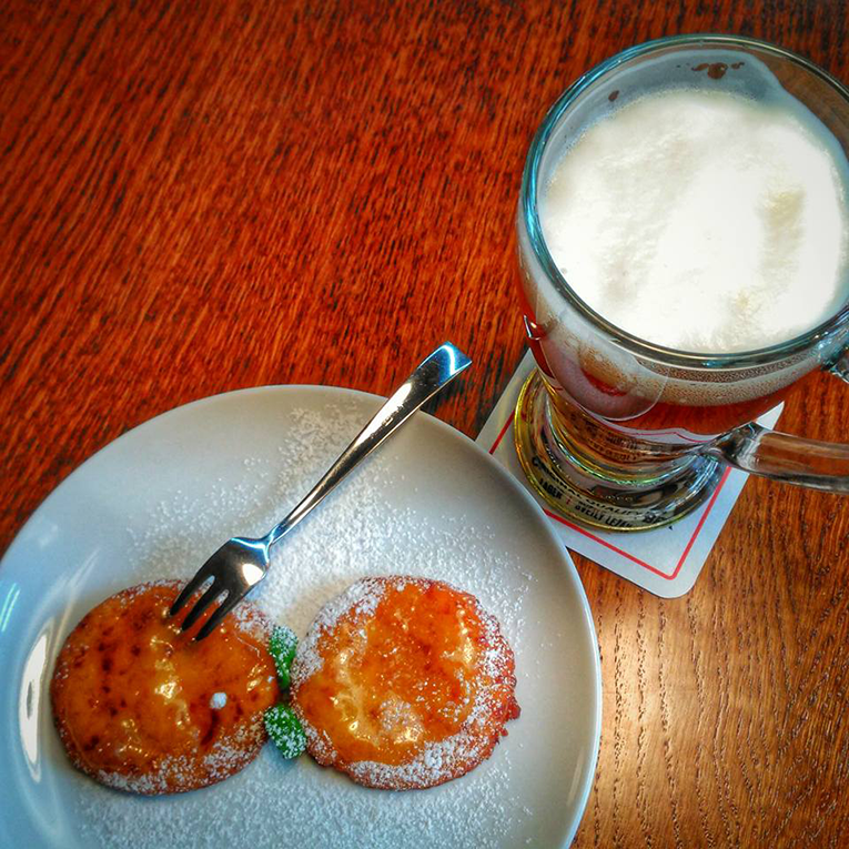 Beer pancakes and local beer in the Czech Republic